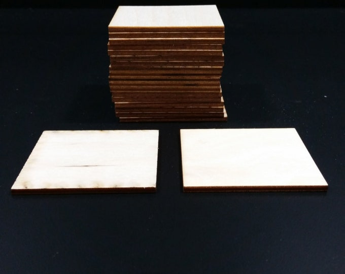 "Set of 20 1/8"" thick Wooden Blank 2 1/2"" Squares"