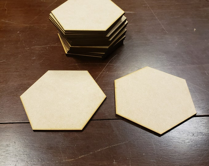 "Set of 20 1/8"" thick MDF Large Blank Hex Tiles"