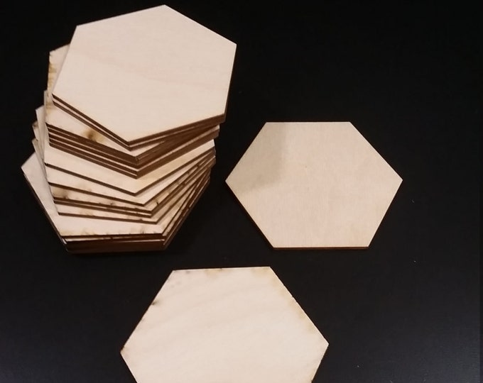 "20 or 100 1/8"" thick Wood Catan Blank Hex Tiles. FREE Shipping in the USA"