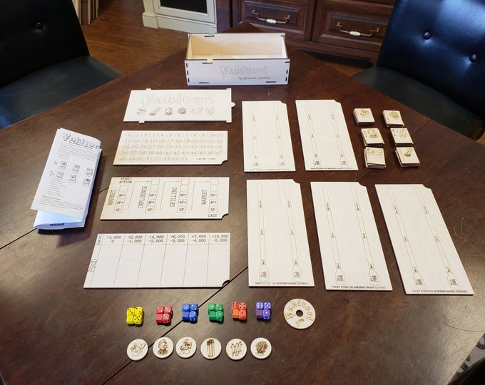 Laser cut Wooden Yakitori Game for 2-5 players designed by Benjamin Sperling