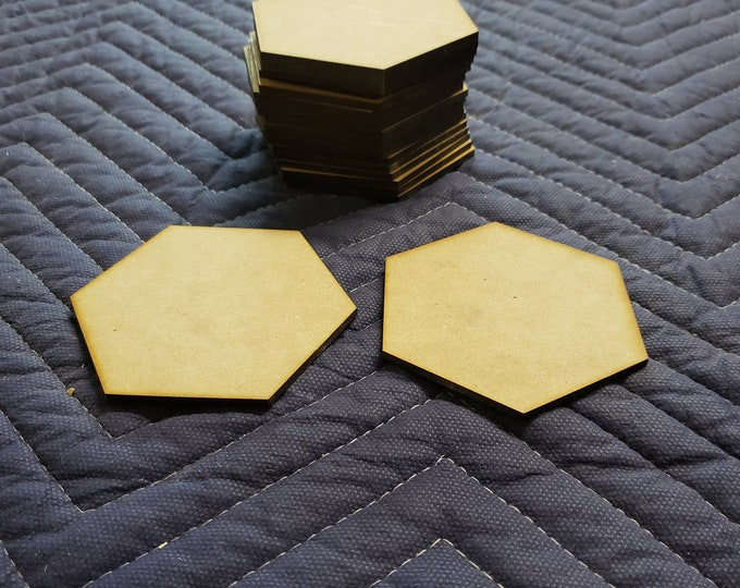"Set of 20 1/8"" thick MDF Catan Blank Hex Tiles"