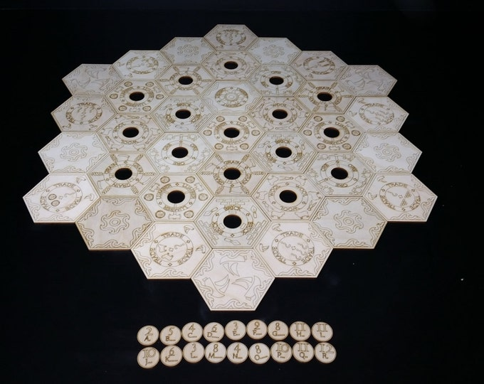 Catan tiles, wooden laser etched 4 or 6 player set with water and port trade tiles