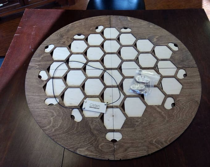 Walnut Stain 6 Player Catan Frame with movable port tiles splits into 4 parts for storage