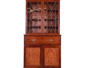 English George III Style Mahogany and Cherry Drop Front Secretary Desk With Bookcase, Circa 1870