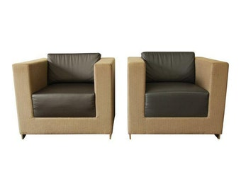 Pair Of Bernhardt Modern Cube Lounge Chairs