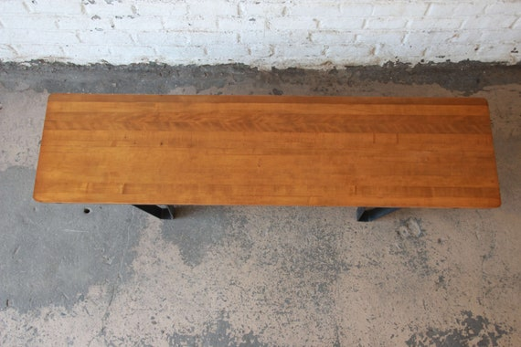 Marvelous Mid Century Modern Long Bench Or Coffee Table With Bowling Lane Top Gmtry Best Dining Table And Chair Ideas Images Gmtryco