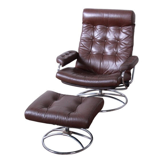 Phenomenal Vintage Ekornes Stressless Chrome And Leather Lounge Chair And Ottoman Ocoug Best Dining Table And Chair Ideas Images Ocougorg