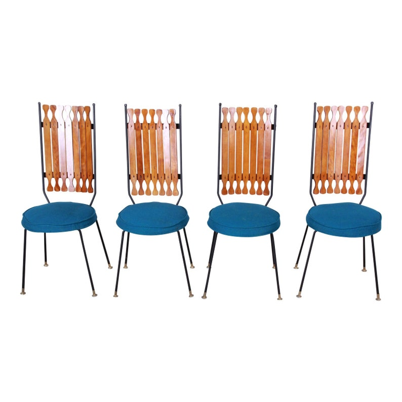 Set of Four Arthur Umanoff for Shaver-Howard Mid-Century Modern High Back Dining Chairs