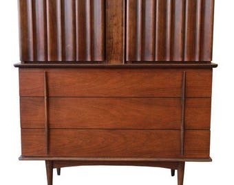 Mid-Century Modern Sculpted Walnut Highboy Dresser by United