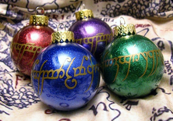 Lord Of The Rings Christmas Ornaments.Lord Of The Rings Inspired One Ring Inscription Glitter Ball Ornament