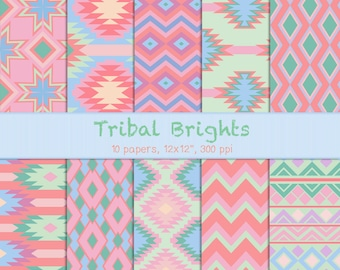 Tribal Brights - Bright Tribal Papers - Digital Tribal Patterns for Background, Cards, Invitations, Scrapbook, Printable Crafts, Collage