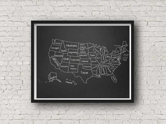 Chalkboard Classroom United States Map Poster Printable up | Etsy
