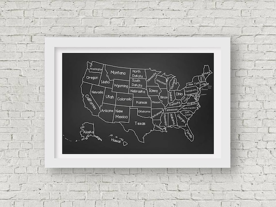 Chalkboard Classroom United States Map Poster - Printable up to 3\' x 2\' -  Instant Download - Black and White US Map with State Names