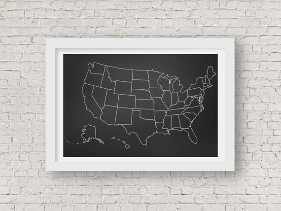Chalkboard Classroom United States Map Poster Printable up to | Etsy