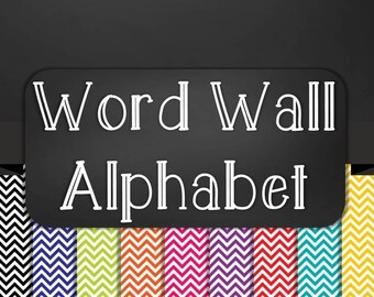 Chalkboard Classroom Word Wall Alphabet Heading Set - Chevron in 9 Colors - Printable - Instant Download