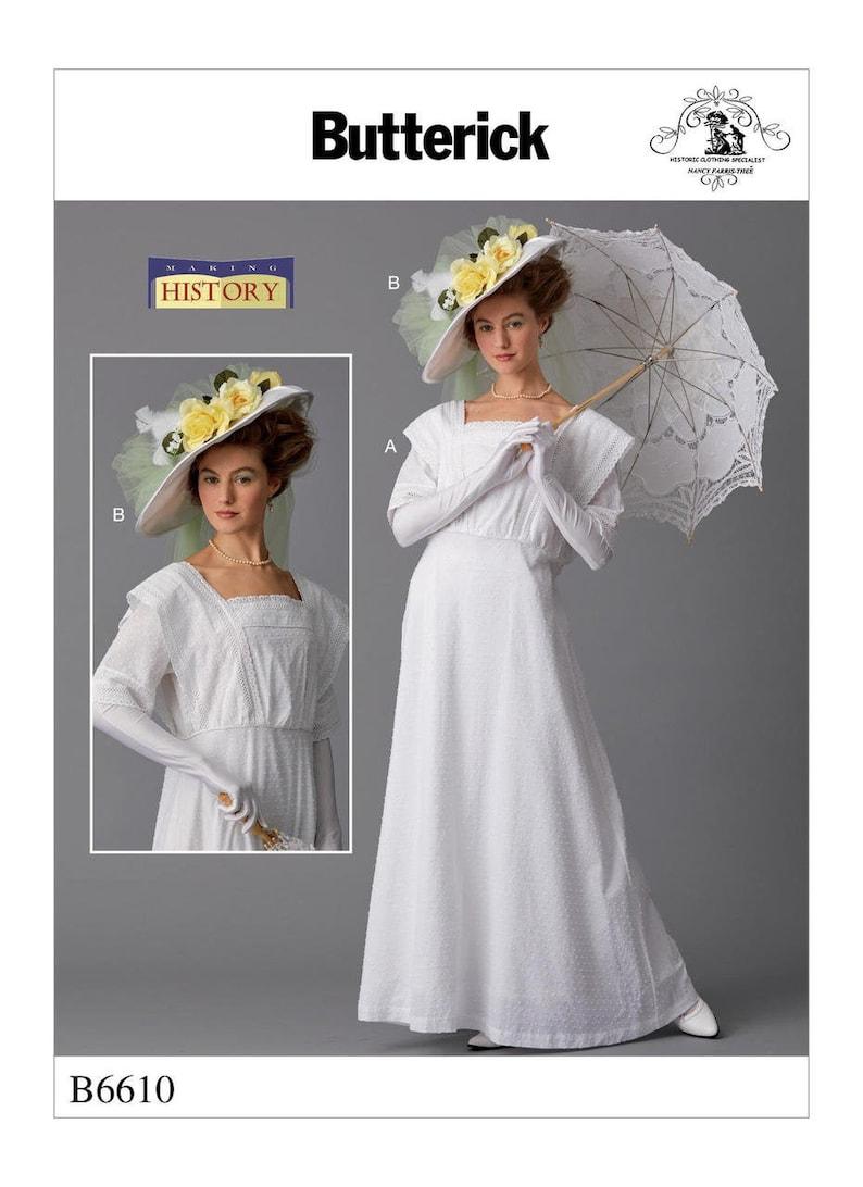 Edwardian Sewing Patterns- Dresses, Skirts, Blouses, Costumes Butterick B6610 Edwardian Era Afternoon Dress Costume Adult Size - Plus size $6.50 AT vintagedancer.com