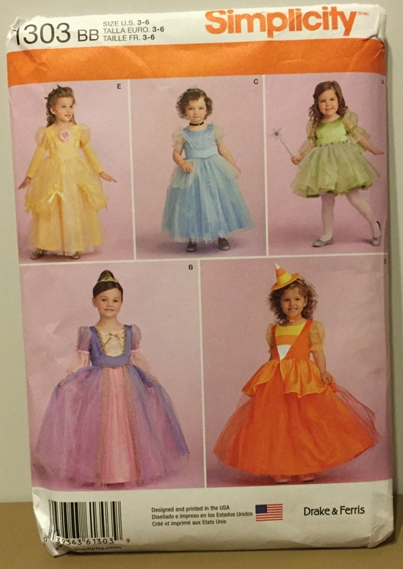 Simplicity 1303 Disney Princess Halloween Costume Pattern | Etsy