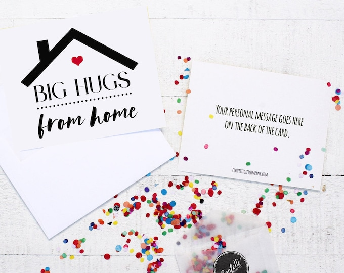 Big Hugs From Home Card - Missing You Card | Thinking Of You | Card From Parents | Send a Greeting | Send a Card | Confetti Greeting