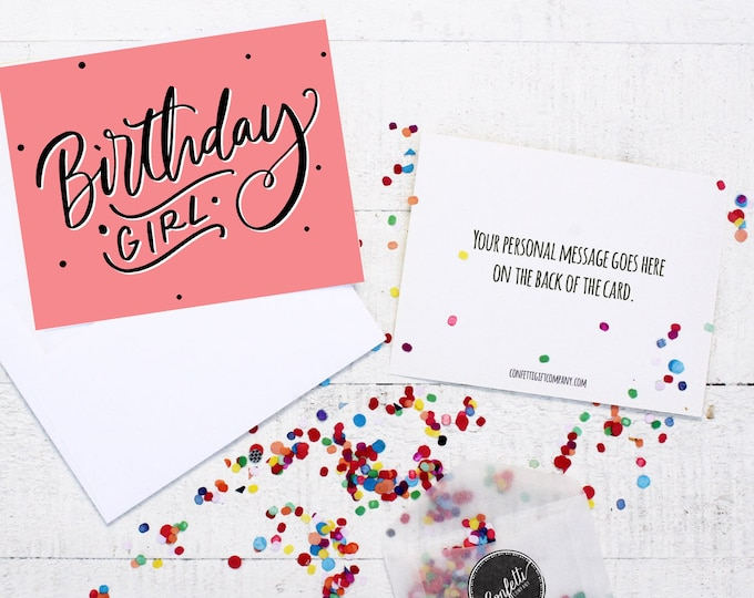 Birthday Girl Card - Birthday Card | Long Distance Friend | Send a Birthday Card | Send a Greeting | Send a Card | Confetti Greeting