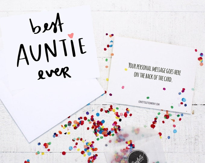 Best Auntie Ever Card -  Gift For Aunt | Card From Niece | Card From Nephew | Send a Greeting | Send a Card | Confetti Greeting