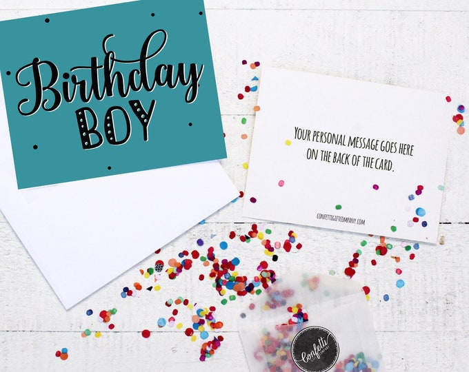 Birthday Boy Card - Birthday Card | Long Distance Friend | Send a Birthday Card | Send a Greeting | Send a Card | Confetti Greeting