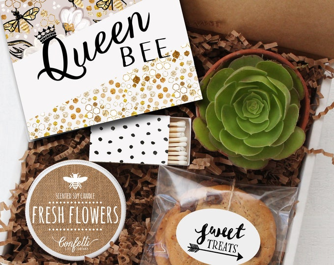 Queen Bee Gift Box - Thinking of You Gift | Bridal Shower Gift | Birthday for Her | Graduation Gift |  Congratulations Gift