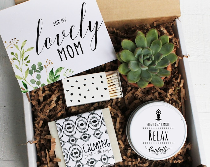For My Lovely Mom Gift Box -  Personalized Mother's Day Gift Box | Spa Gift Box | Gift For Mom | Succulent | Candle Gift Set | Soap Gift Set