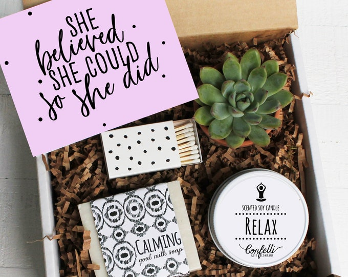 She Believed She Could So She Did Gift Box | Graduation Gift Box | Gift For Her | Congratulations | College Graduation | Spa Gift