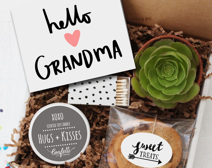 Hello Grandma Gift Box-  Gift For Grandma | Miss You Gift | Birthday Gift for Grandma | Card for Grandma | Grandparents Day