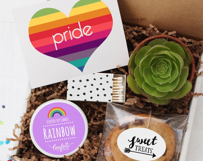Pride Gift Box - LGBTQ Pride Gift | Coming Out Gift | Gay Pride | Equality | Rainbow Candle | Support Gay Marriage