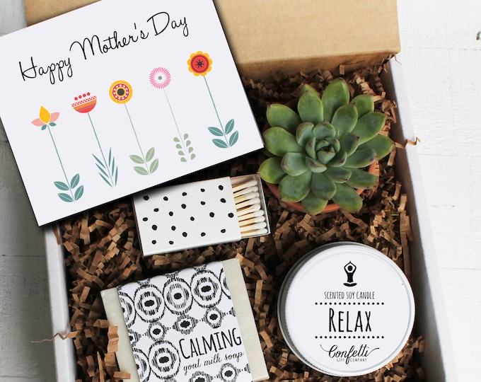 Mother's Day Gift Box -  Spa Gift Box | Gift For Mom | Send a gift to Mom | Succulent Gift Set | Candle Gift Set | Soap Gift Set