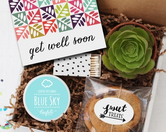 Get Well Soon Gift Box - Get Well Gift   Get Well Card   Succulent Gift   Thinking of you Gift