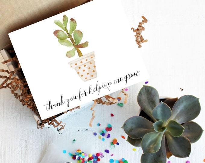 Mini Thank You For Helping Me Grow Gift Box - Teacher Gift | Thank You Gift | Teacher Aide Gift | Classroom Helper Gift