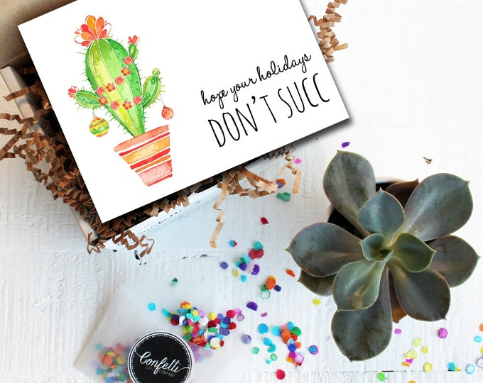 Mini Hope Your Holidays Don't Succ Gift Box- Christmas Gift | Holiday Gift | Succulent Gift Box | Send a Gift | Unique Holiday Gift