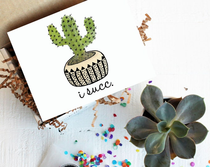 Mini I Succ Gift Box -  I'm Sorry Gift | Succulent Gift | Forgive Me Gift | I Suck | Make Amends Gift | Apology Card |