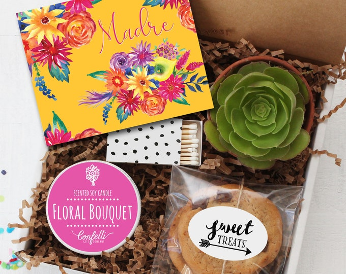 Madre Gift Box - Personalized Mother's Day Gift Box  | Gift For Mom | Send a gift | Spanish Card | Candle Gift Set | Happy Mother's Day