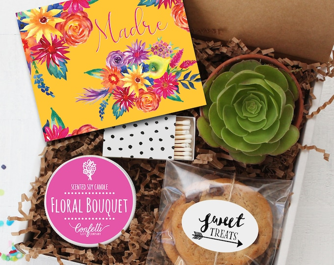 Madre Gift Box - Mother's Day Gift Box  | Gift For Mom | Send a gift to Mom | Spanish Card | Candle Gift Set | Cookies | Happy Mother's Day