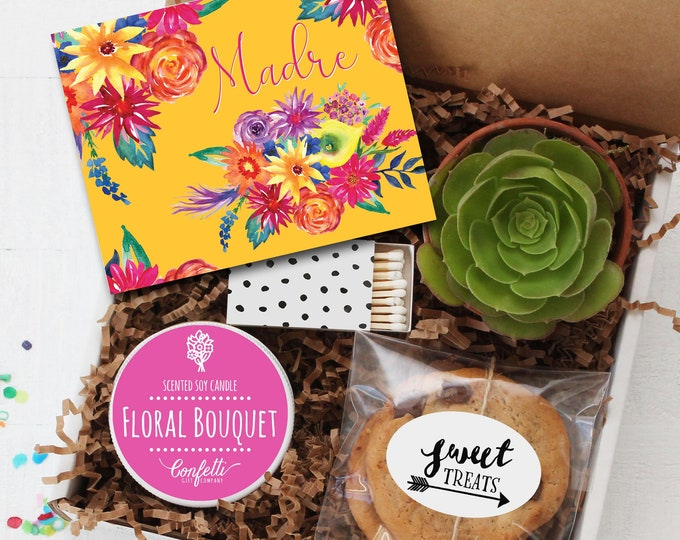 Madre Gift Box - Mother's Day Gift Box    Gift For Mom   Send a gift to Mom   Spanish Card   Candle Gift Set   Cookies   Happy Mother's Day