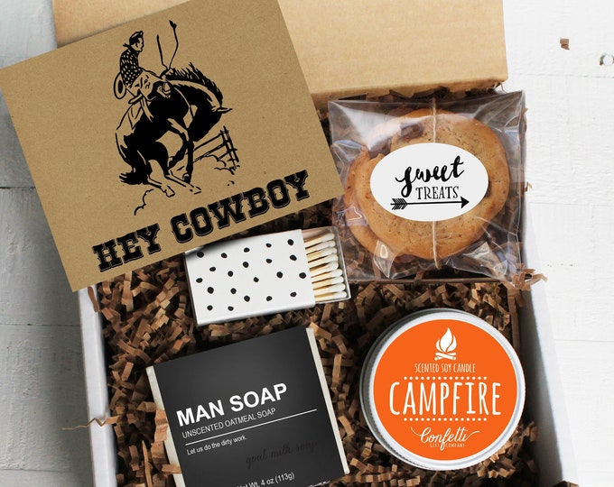 Hey Cowboy Gift Box -  Father's Day Gift | Appreciation Gift | Dad Gift | Gift For Dad | Campfire Candle | Gift For Him | Cookie Gift