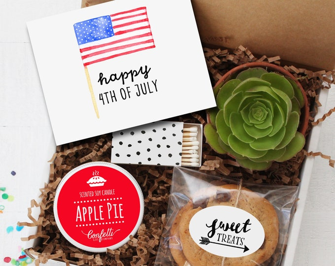 Happy 4th of July Gift Box | 4th of July Hostess Gift | Patriotic Gift | Apple Pie Candle | Summer Gift | Independence Day |