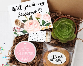 Will You Be My Bridesmaid Gift Box | Will You Be My Maid of Honor Gift | Bridal Party Gift | Bridesmaid Proposal | Bridesmaid Succulent Gift