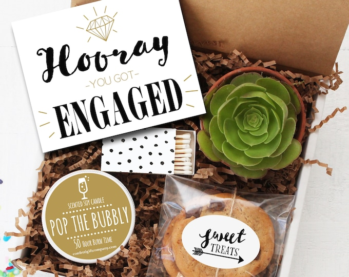 Engagement Gift Box - Hooray You Got Engaged Gift | Engagement Gift for Couple | Engaged Gift | Getting Married Gift |Engagement Party Gift