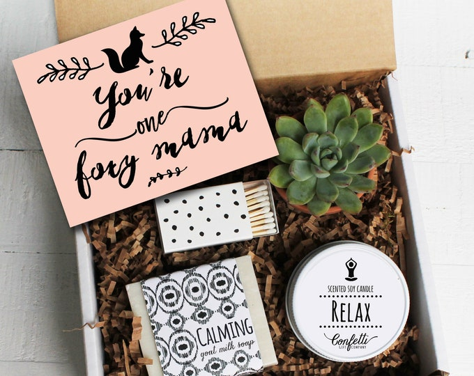 You're One Foxy Mama Gift Box - Spa Gift Set | New Mom Gift | Best friend Gift | New Baby | Send a Gift Box | Gift Basket