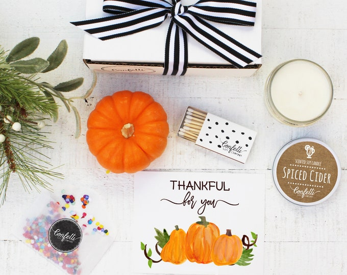Mini Thankful For You Gift Box - Send a Fall Gift | Thanksgiving Gift | Thanksgiving Card | Autumn Candle | Friendsgiving | Hostess Gift