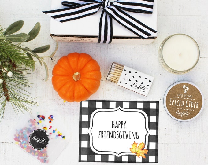 Mini Happy Friendsgiving Gift Box - Send a Fall Gift | Friendsgiving Gift  | Fall Candle Gift |  Best Friend Gift | Hostess Gift
