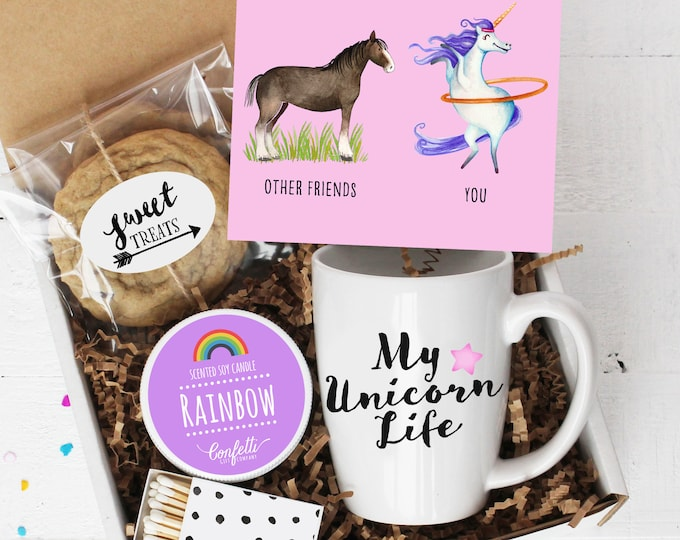 Best Friend Thank You Gift Box - Unicorn Gift | My Unicorn Life | Best Friend  | Gift For Her | Rainbow Candle | Thinking of You | BFF