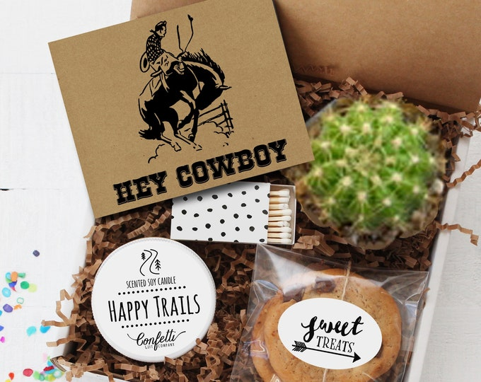 Hey Cowboy Gift Box -  Father's Day Gift | Appreciation Gift | Dad Gift | Gift For Dad | Happy Trails Candle | Gift For Him | Cactus Gift