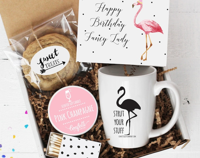 Happy Birthday Fancy Lady Birthday Gift Box - Send a Birthday Gift | Birthday Gift Set | Friend Gift | Flamingo | Flamingo Birthday Card |