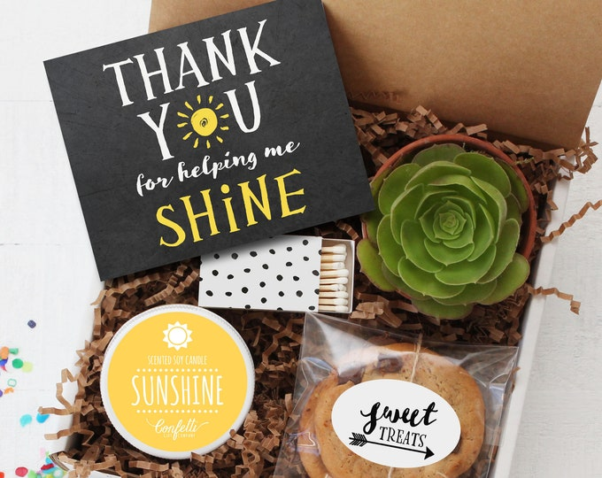 Thank You for Helping Me Shine Gift Box -  Teacher Gift | End of Year Gift | Teacher Thank You Gift | Teacher Thank You Card