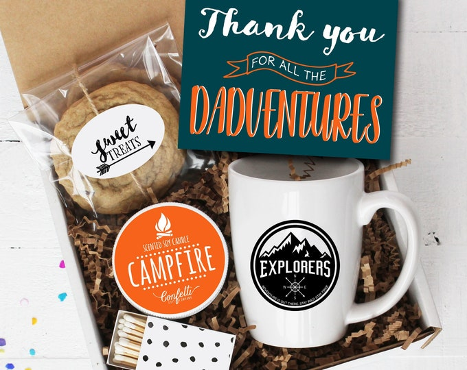 Thank You For All The Dadventures Gift Box | Father's Day  Gift | Gift For Dad | Campfire Candle |  Explorer Mug | Adventure Gift | Gift Box